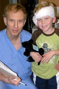 Dr. Jones with a small patient